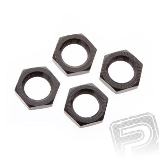 Matice kol 17mm, černé, 4 ks.