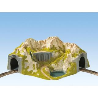 Hora s tunelem, oblouk, jednokolejný 41 x 37 cm NO05130