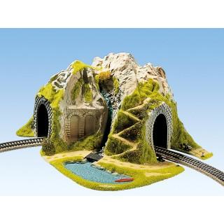 Hora s tunelem, oblouk, jednokolejný 41 x 37 cm NO05170