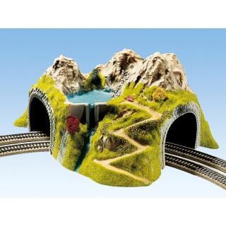 Hora s tunelem, oblouk, dvoukolejné 43 x 41 cm NO05180