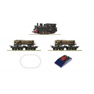 Startset parní lokomotivy s nákladem dřeva