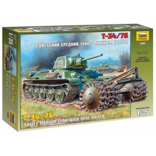 Model Kit tank 3580 - T-34/76 Soviet Tank with Mine Roller (1:35)