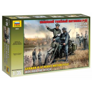 Model Kit military 3632 - German R-12 Heavy Motorcycle with Rider (1:35)