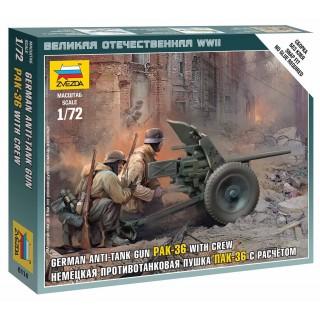 Wargames (WWII) figurky 6114 - German Gun Pak-36 with Crew (1:72)