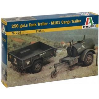 Model Kit military 0229 - 250 GAL.S TANK TRAILER - M101 CARGO TRAILER (1:35)