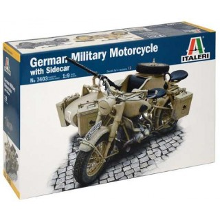 Model Kit military 7403 - German Military Motorcycle with Sidecar (1:9)