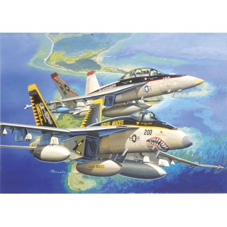 "Model Kit letadlo 4618 - F/A-18E VFA-27 ""ROYAL MACES"" & F/A-18F VFA-41 ""BLACK ACES"" (1:144)"