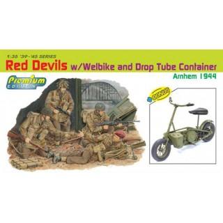 Model Kit figurky 6585 - RED DEVILS w/WEELBIKE DROP TUBE CONTAINER (ARNHEM 1944) (PREMIUM ED.) (1:35)