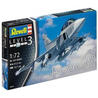 Plastic ModelKit letadlo 03956 - Saab JAS-39D Gripen Twinseater (1:72)