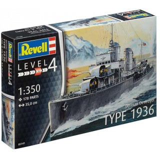 Plastic ModelKit loď 05141 - German Destroyer Type 1936 (1:350)