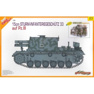 Model Kit military 9123 - 15cm STURM-INFANTERIEGESCHÜTZ 33 auf Pz.III + GERMAN 6th ARMY (Magic Track Included) (1:35)