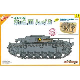 Model Kit tank 9132 - StuG.III Ausf.B + WEHRMACHT INFANTRY (w/Magic Track) (1:35)