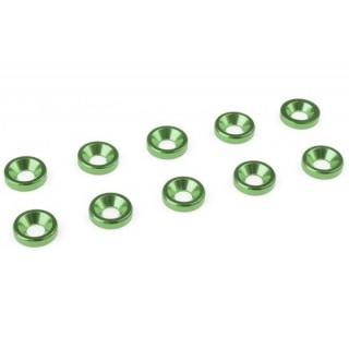 Podložka pro záp. šroub M3 hliník zelená (10ks)