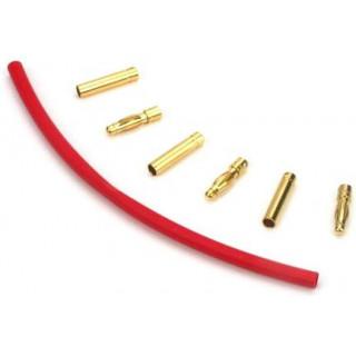 Zlacené konektory 4 mm se smršť. bužírkou (3 páry)