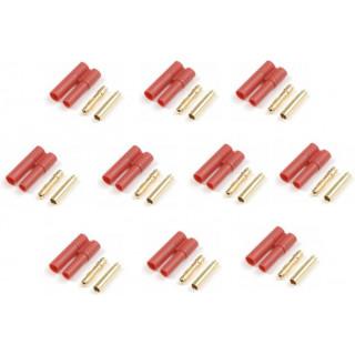 Konektor zlacený 4.0mm s plastovým krytem (5 párů)