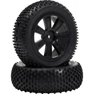 VTEC Kamikaze 4WD přední, nalepené gumy na černých diskách - 1/10 Buggy J-směs