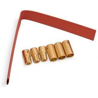 Zlacené konektory 6.5mm se smršť. bužírkou (3 páry)