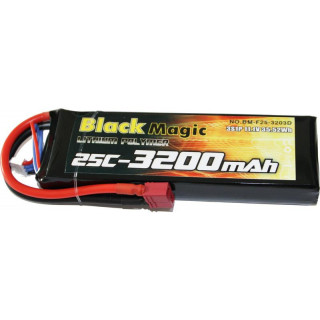 Black Magic LiPol 11.1V 3200mAh 25C Deans