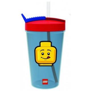 LEGO ICONIC Classic láhev s brčkem - transparentní modrá