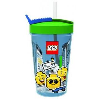 LEGO ICONIC Boy láhev s brčkem - transparentní modrá