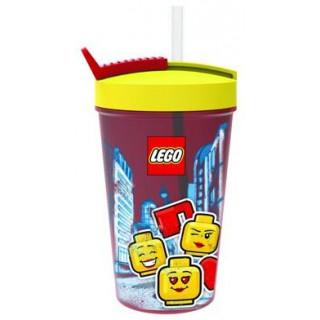 LEGO ICONIC Girl láhev s brčkem - transparentní červená