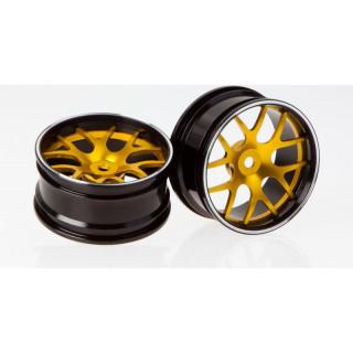 Killerbody Corvette GT2 1:10 - hliníkové disky kol zlaté (2)