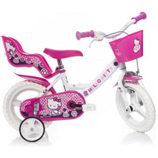 """DINO Bikes - Dětské kolo 12"""" Hello Kitty se sedačkou pro panenku a košíkem"""