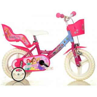 """DINO Bikes - Dětské kolo 12"""" Princess se sedačkou pro panenku a košíkem"""
