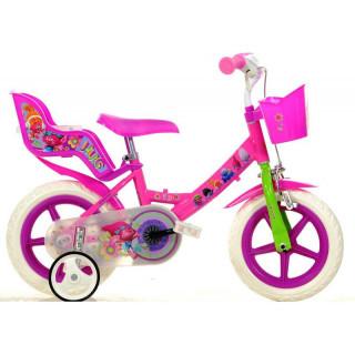 """DINO Bikes - Dětské kolo 12"""" se sedačkou pro panenku a košíkem s licencí Trolls"""