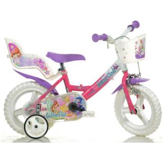 """DINO Bikes - Dětské kolo 12"""" Winx se sedačkou pro panenku a košíkem"""