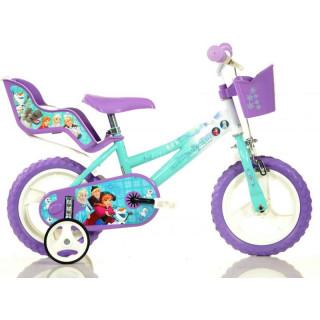 """DINO Bikes - Dětské kolo 12"""" Frozen se sedačkou pro panenku a košíkem"""