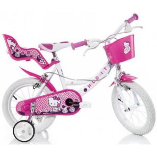 """DINO Bikes - Dětské kolo 14"""" Hello Kitty se sedačkou pro panenku a košíkem"""