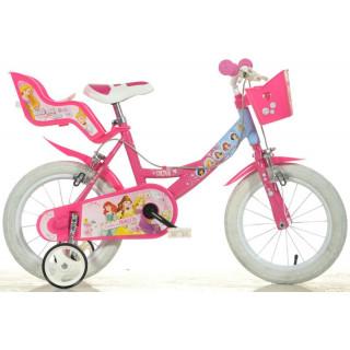 """DINO Bikes - Dětské kolo 14"""" Princess se sedačkou pro panenku a košíkem"""