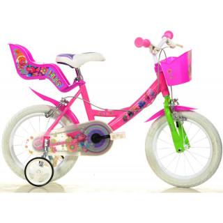 """DINO Bikes - Dětské kolo 14"""" Trolls se sedačkou pro panenku a košíkem"""
