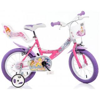 """DINO Bikes - Dětské kolo 14"""" Winx se sedačkou pro panenku a košíkem"""