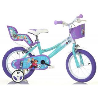 """DINO Bikes - Dětské kolo 14"""" Frozen se sedačkou pro panenku a košíkem"""
