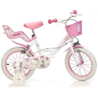 """DINO Bikes - Dětské kolo 16"""" Hello Kitty se sedačkou pro panenku a košíkem"""