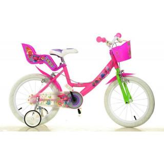 """DINO Bikes - Dětské kolo 16"""" Trolls se sedačkou pro panenku a košíkem"""