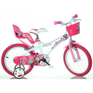 "DINO Bikes - Dětské kolo 16"" Minnie se sedačkou pro panenku a košíkem"