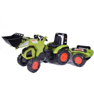 FALK - Šlapací traktor Claas Axos 330 s nakladačem a vlečkou