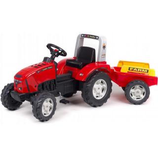 FALK - Šlapací traktor Farm lander Z240X s vlečkou červený