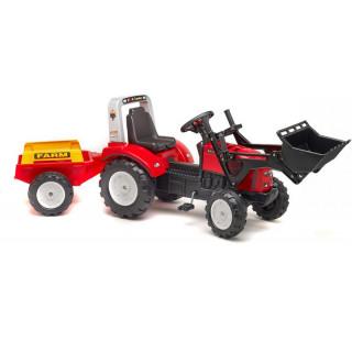 FALK - Šlapací traktor Farm Lander Z240X s nakladačem a vlečkou