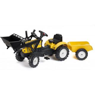FALK - Šlapací traktor Constructor s nakladačem, vlečkou a otevírací kapotou