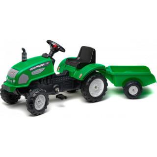 FALK - Šlapací traktor Farm Master 270i s vlečkou zelený