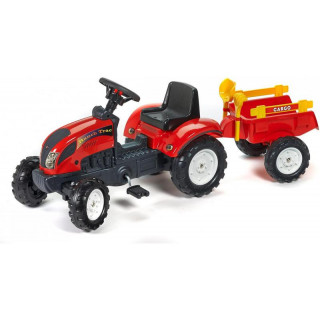 FALK - Šlapací traktor Ranch Trac s vlečkou červený