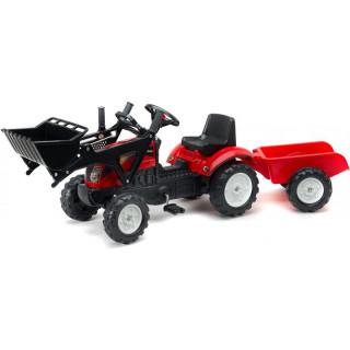 FALK - Šlapací traktor Ranch Trac s nakladačem a vlečkou červený