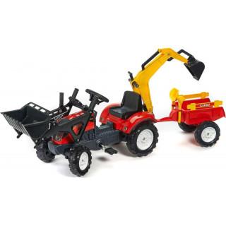 FALK - Šlapací traktor Ranch Trac s nakladačem, vlečkou, rypadlem červený