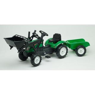 FALK - Šlapací traktor Ranch Trac s nakladačem a vlečkou zelený