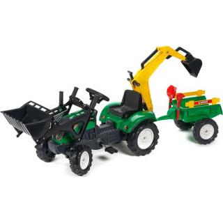 FALK - Šlapací traktor Ranch Trac s nakladačem, vlečkou, rypadlem zelený