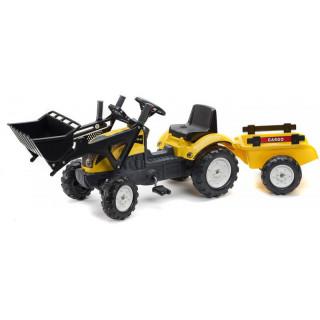 FALK - Šlapací traktor Ranch Trac s nakladačem a vlečkou žlutý